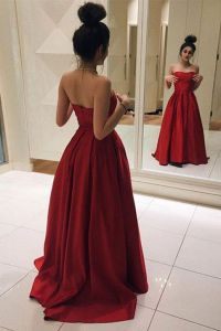 Red Long Prom Dresses, Elegant Red Satin Prom Dress, Ball ...