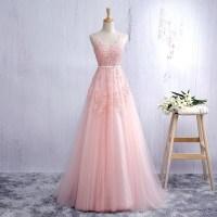 Lace Appliqued Blush Pink Prom Dresses,Long Blush Pink ...