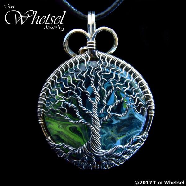 BlackBlueGreen Orgonite Sterling Silver Tree of Life