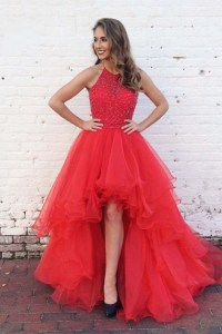 Red Prom Dresses,Short Front Long Back Prom Dresses,Tulle ...