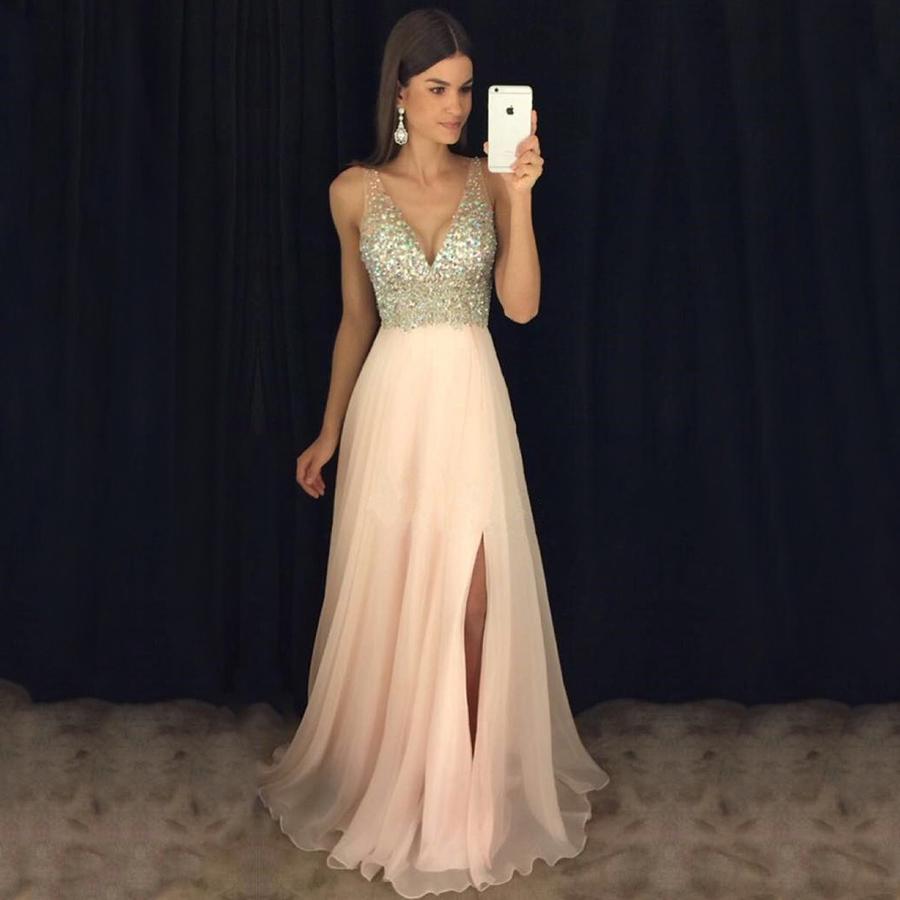Pink Prom Dresses Elegant Chiffon Vneck Long Evening Dresses Best Split Front with Beading A