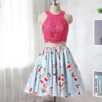 Two Piece Short Floral Homecoming Dress  dreamdressy ...