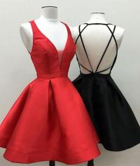 simple v neck short prom dress, cute homecoming dress ...