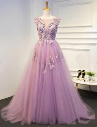 2018 A line Pink Lace Long Evening Prom Dresses, Sexy See ...
