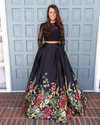 Two Piece Prom Dress,Black Floral Long Prom Dress, Long ...