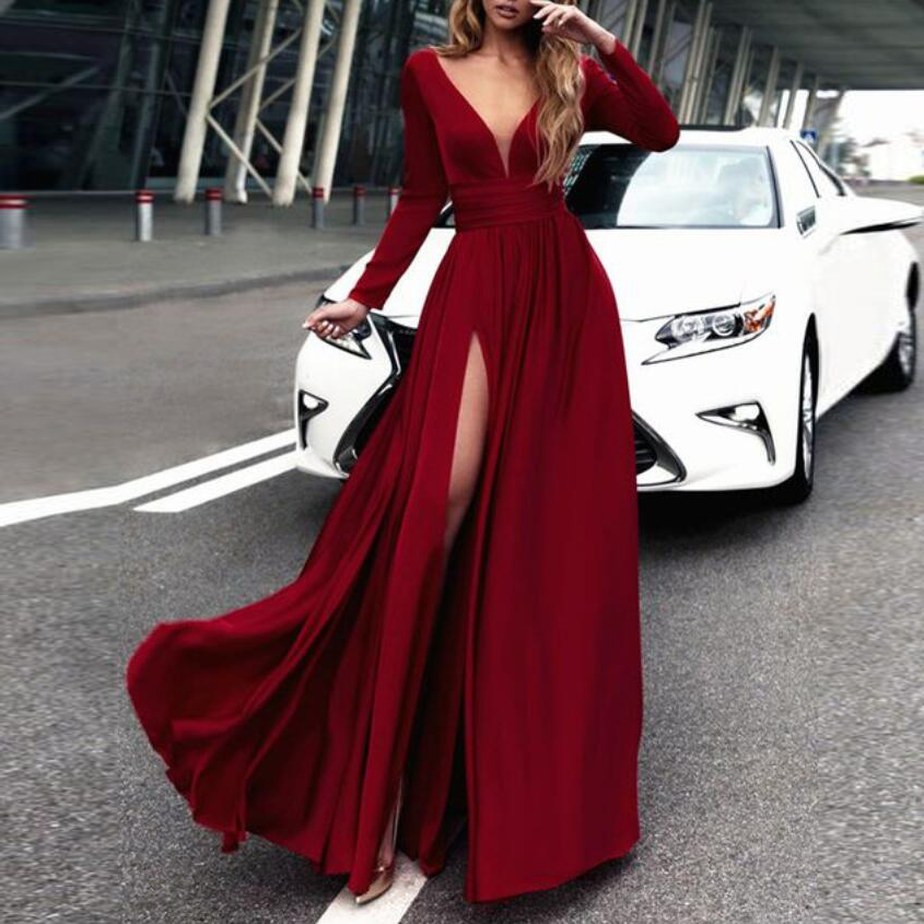 Long Sleeves Formal Evening Gown Wine Red,V Neck Prom