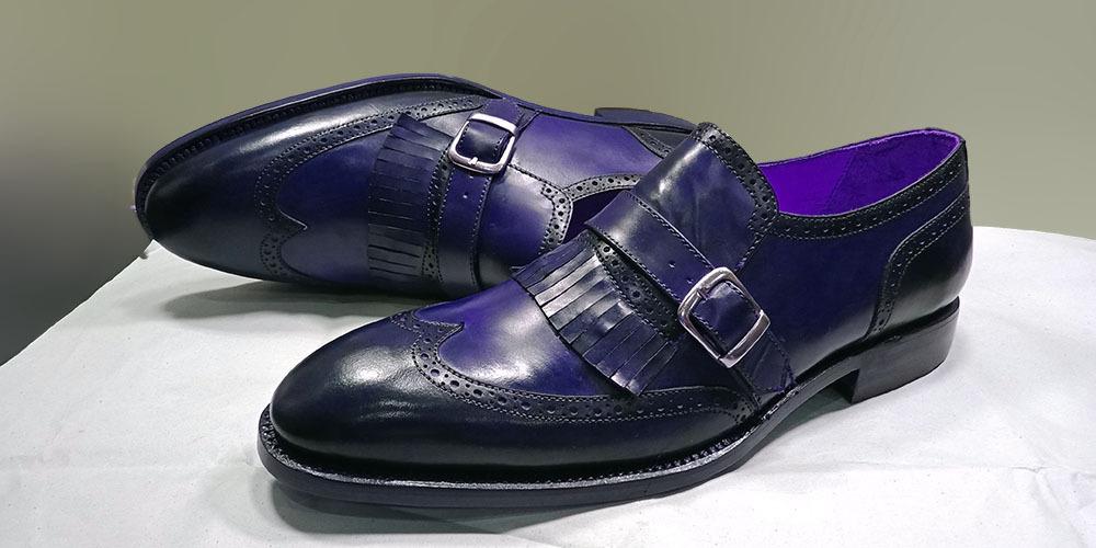 handmade purple monk shoes