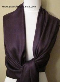 Dark Purple Pashmina Scarf Bridal Shawl Fashion Shawl ...