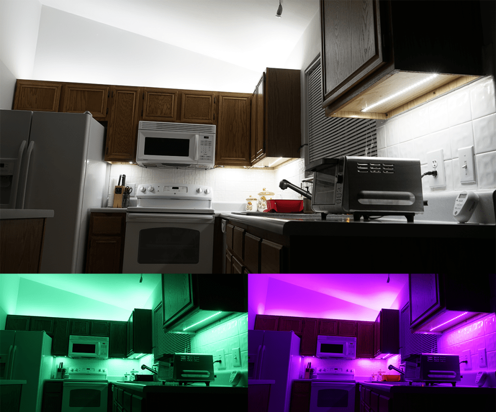 medium resolution of above cabinet and under cabinet led lighting how to install led strip lights