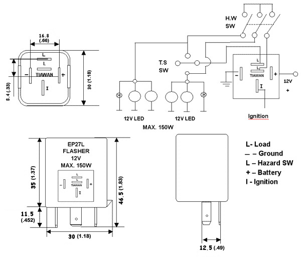 3 pin electronic flasher relay wiring diagram vw beetle 1973 ep27l led bulb | super bright leds