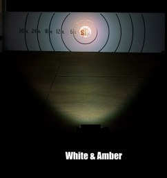 18 amber white led off road light bar 24w beam pattern on target from 30 feet away [ 1800 x 600 Pixel ]