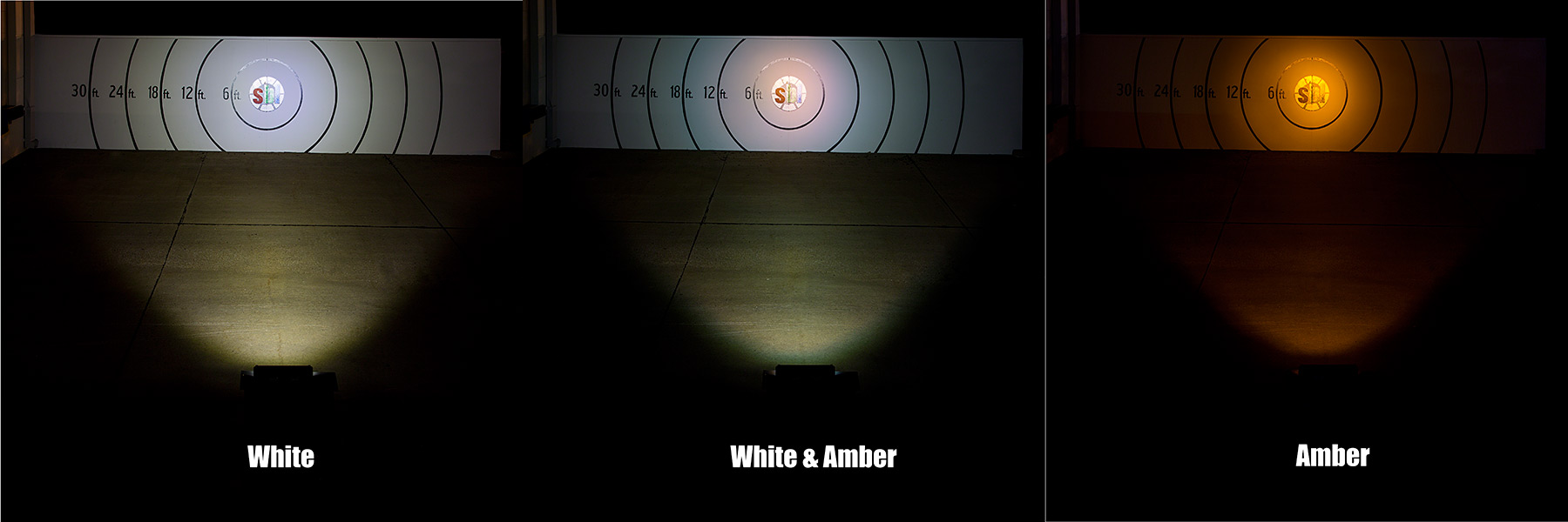 hight resolution of 18 amber white led off road light bar 24w beam pattern on target from 30 feet away