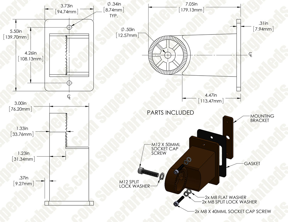 Large Square Pole Mount Kit for 400W LED Dimmable Parking