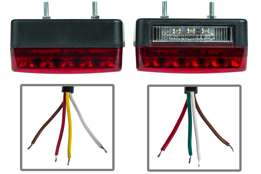 "Combo LED Trailer Light Kit 4"" LED Stop Turn Tail Light With 23"