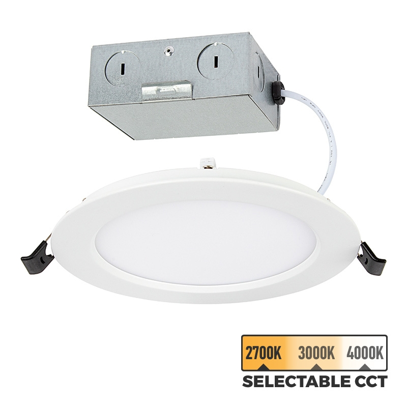 4 led recessed downlight remote junction box selectable color temperature 50 watt equivalent dimmable 600 lumens