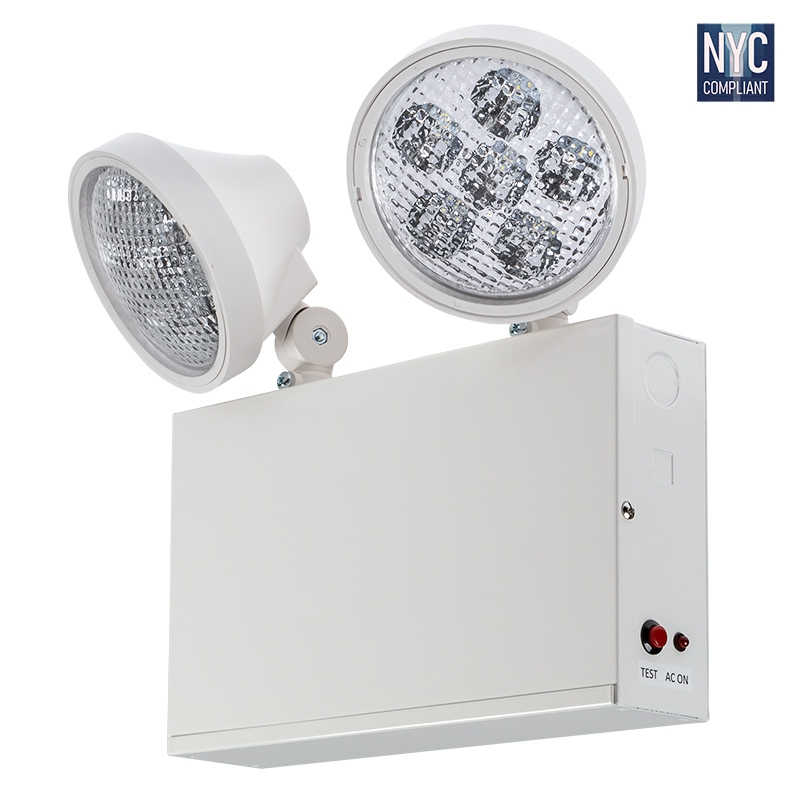 dual head nyc emergency light with battery backup adjustable light heads