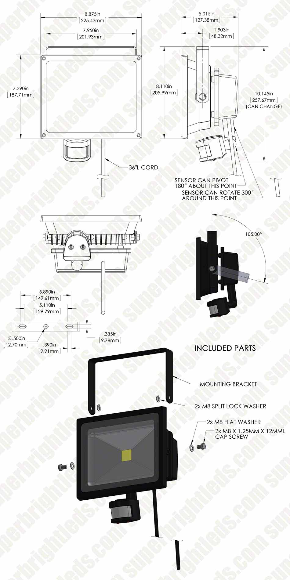 30 Watt High Power LED Flood Light Fixture with Motion