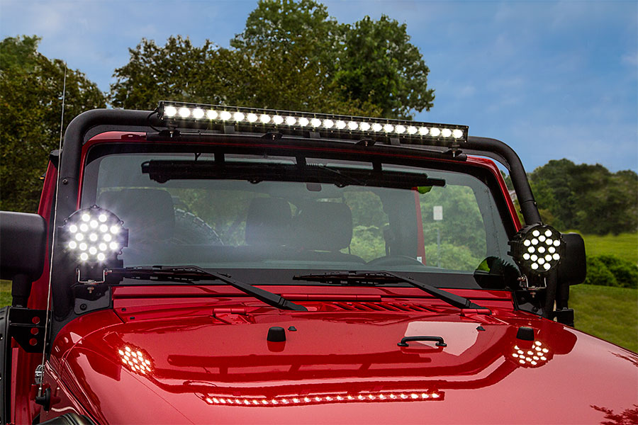 led light bar wiring diagram with relay meyer snow plow headlight off road work driving 6 round 39w 2 200 inch 51w heavy duty high powered installed by pur performance onto jeep