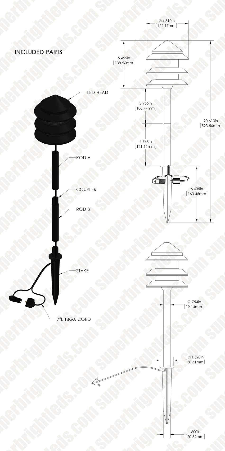 Landscape LED Path Lights w/ Triple Tier Pagoda Style
