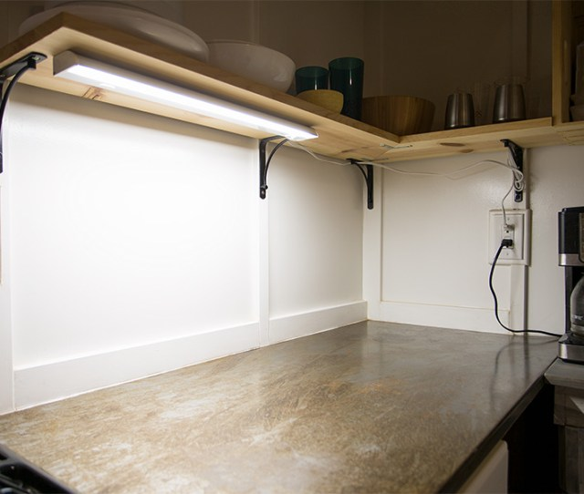 Dimmable Under Cabinet Led Lighting Fixture W Rocker Switch 22 800 Lumens Shown Installed In Cabin Kitchen With Power Cord Sold Separately
