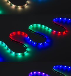 color chasing rgb led light strip kit flexible led tape light with 9 smd leds ft 3 chip rgb smd led 5050 on showing multiple color dreamcolor modes  [ 900 x 1795 Pixel ]