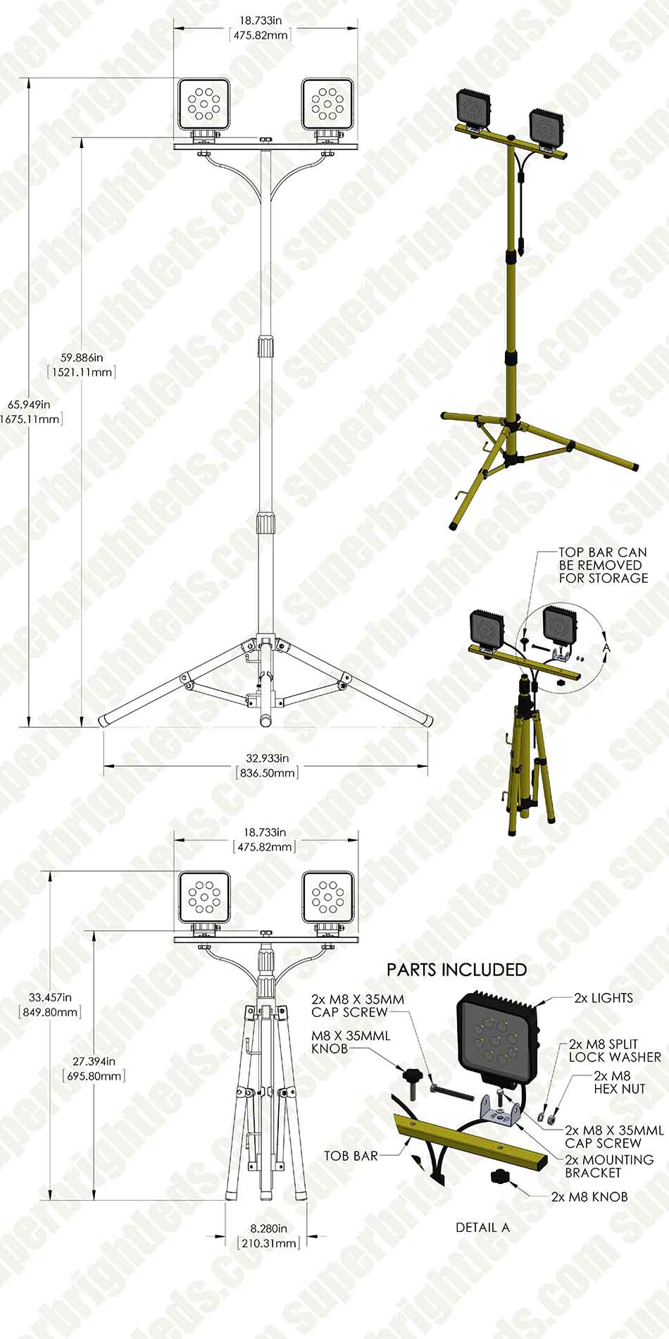 Dual Head Portable LED Work Lights with Tripod Stand