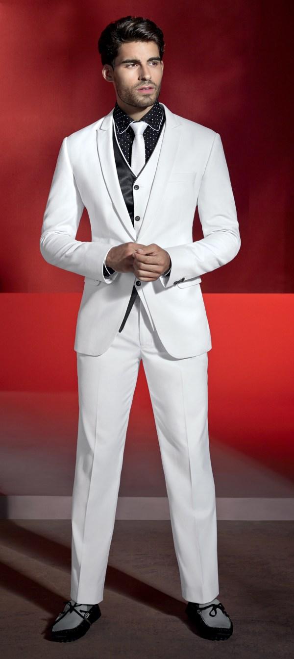 Black Shirt White Suit - Suits