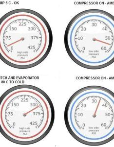 pressure gauge readdings also   readings rh vehicleairconservices
