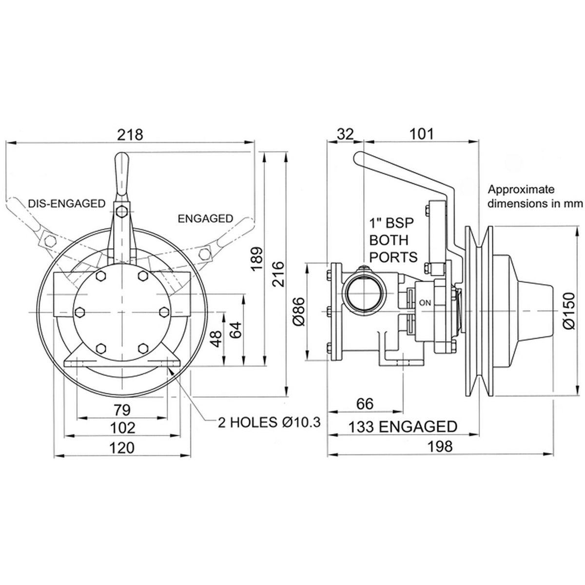 Jabsco 51080-2001 Bilge Clutch Pump (80 LPM / 1
