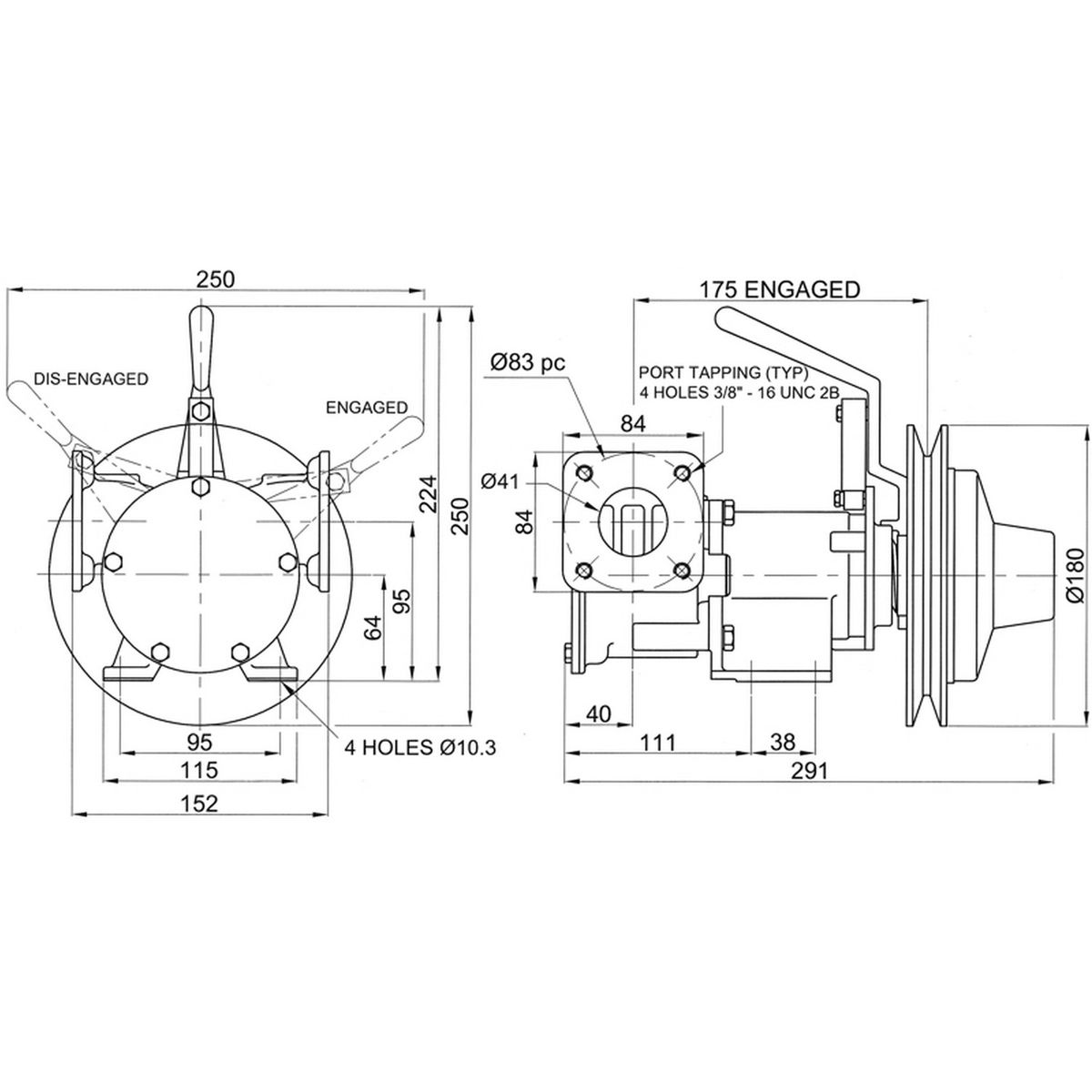 Jabsco 51220-0011 Clutched Pump For Bilge / Deck Wash