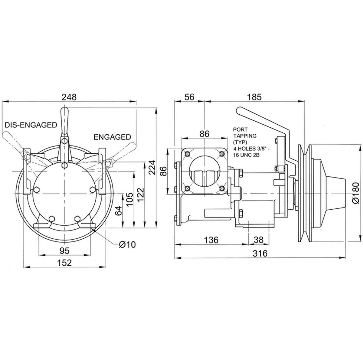 Jabsco 51270-0011 Clutched Pump For Bilge / Deck Wash