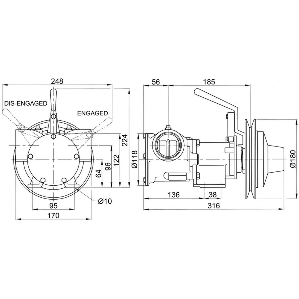 Jabsco 51270-2011 Clutched Pump For Bilge / Deck Wash