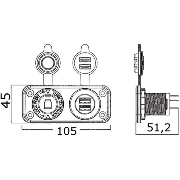 Cigarette Lighter Socket and Double USB Sockets