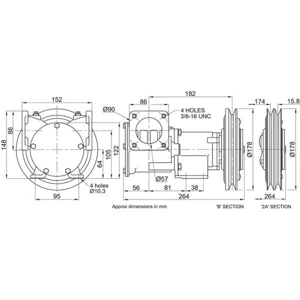 Jabsco 50270-0111 Clutched Pump For Bilge / Deck Wash