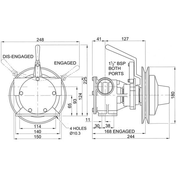 Jabsco 51200-2011 Clutched Pump For Bilge / Deck Wash
