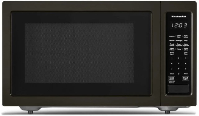 kitchenaid 1 6 cu ft black stainless steel with printshield finish countertop microwave oven kmcs1016gbs