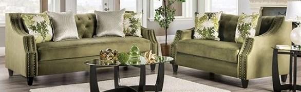 Furniture Of America Kaye 2 Piece Olive Green Living Room Set Sm2684 2pc Ihome Furniture