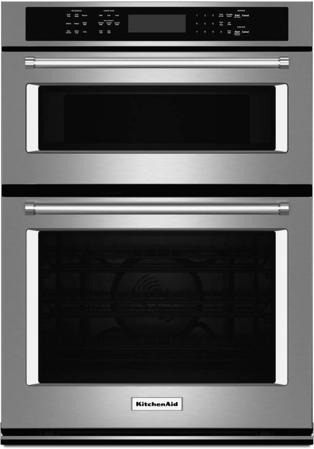 kitchenaid 27 stainless steel electric oven microwave combo built in koce507ess