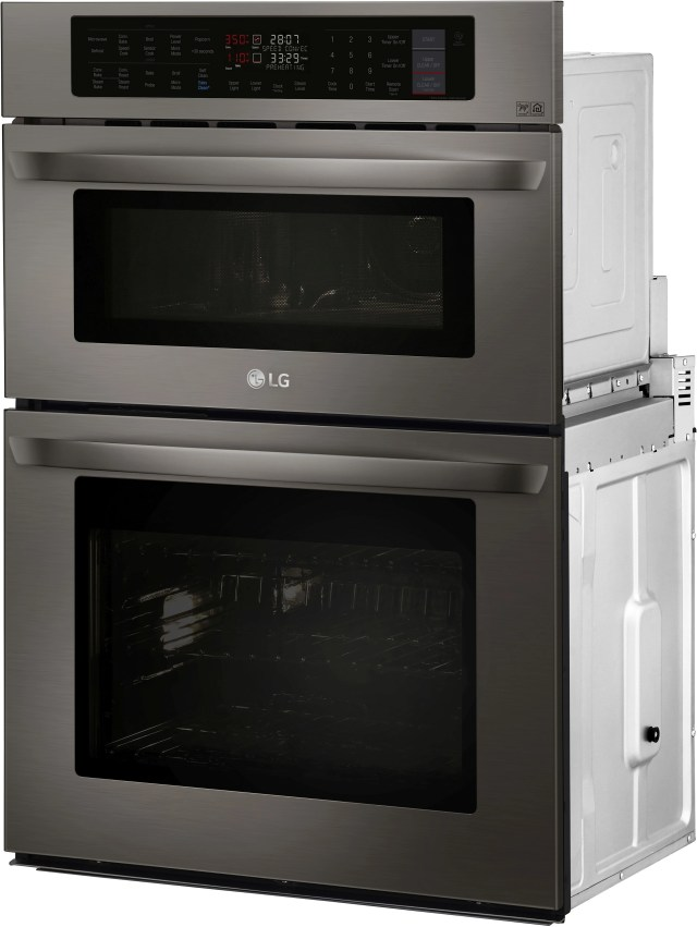 lg 29 75 black stainless steel electric oven microwave combo built in lwc3063bd