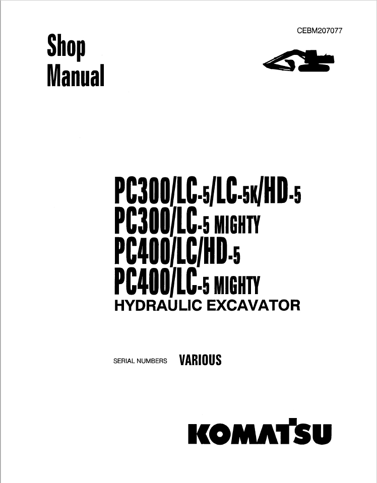 Komatsu PC27MR-2, PC30MR-2, PC35MR-2, PC40MR-2, PC50MR