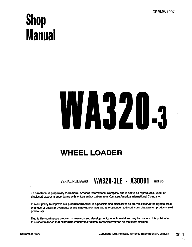 Komatsu WA70-1 10001 and up Wheel Loader Shop Manual S