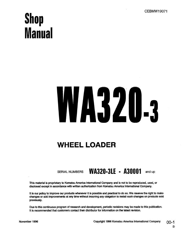 Komatsu WA500-3H WA500H20051 and up Wheel Loader Shop