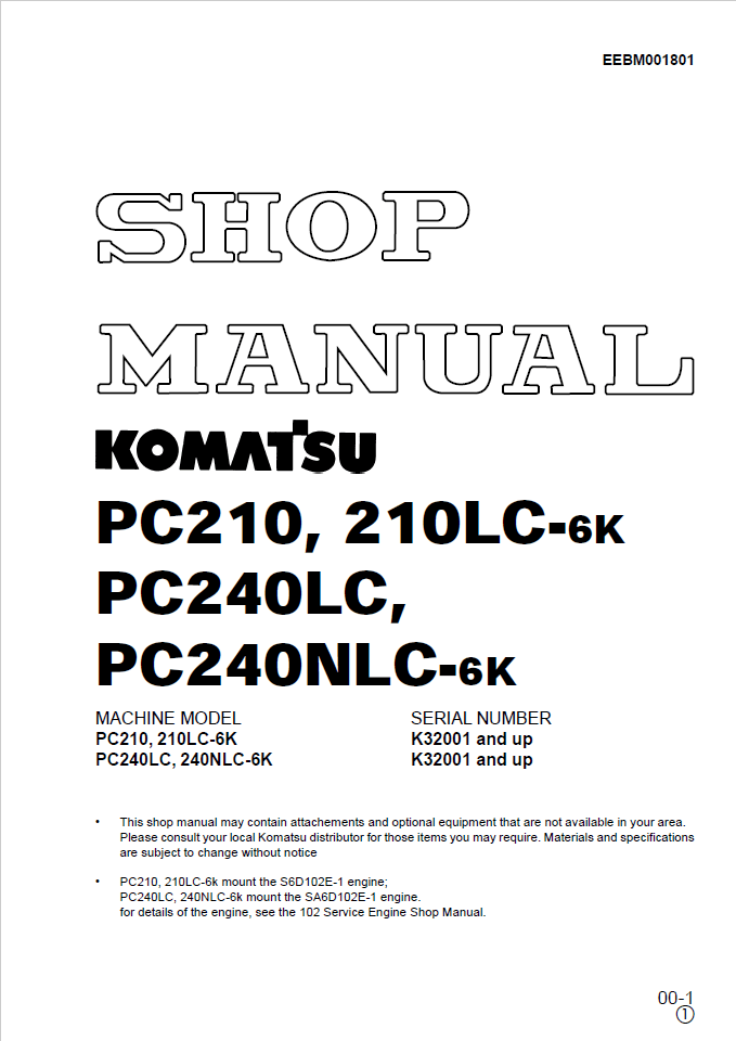 Komatsu SK820-5N A40001 and up Skid Steer Loader Shop
