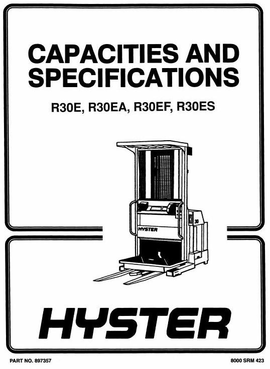 Hyster Electric Reach Truck Type D118: R30E, R30EA, R3