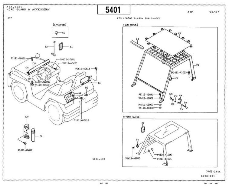 Toyota Forklift Truck Type 5FD50, 5FD60, 5FD70, 5FD80,