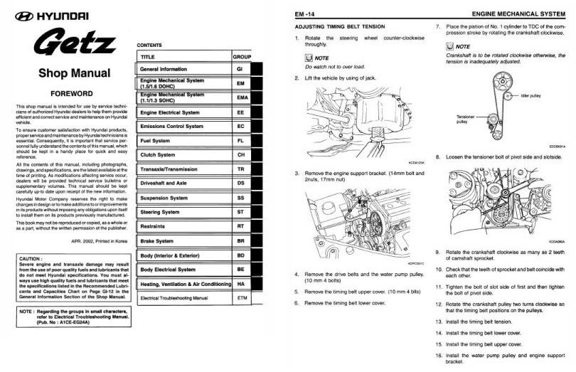 Bestseller: Hyundai Getz 11 Service Manual