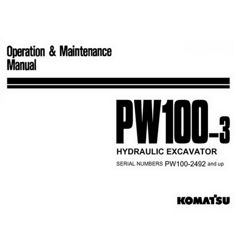 Komatsu PW100-3 Hydraulic Excavator Operation & Mainte