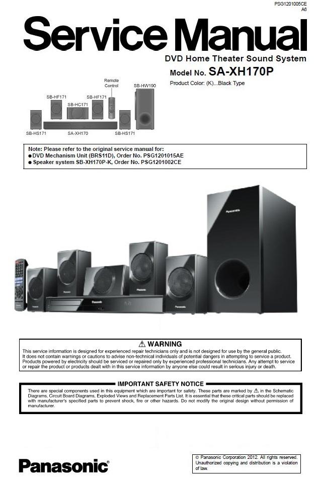 Sound System Repair : sound, system, repair, Panasonic, XH170, Theater, System, Service, Manual, Serviceandrepair