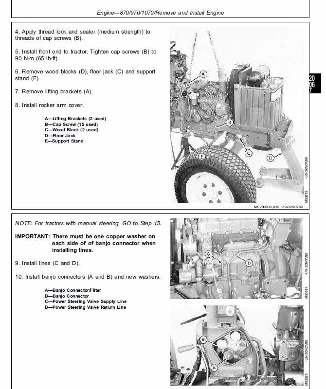 John Deere 670, 770, 790, 870, 970, 107 Compact Utili