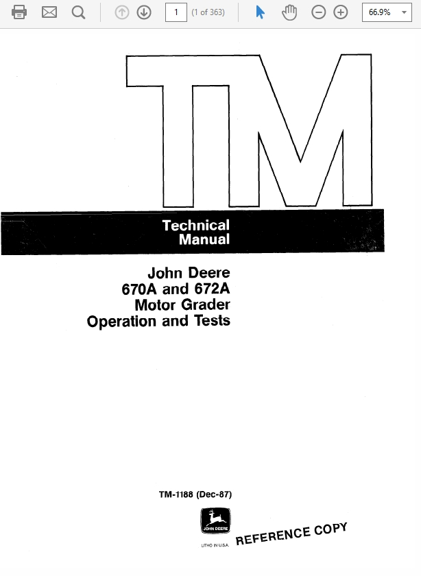 John Deere 310 Loader Backhoe Technical Manual TM-103